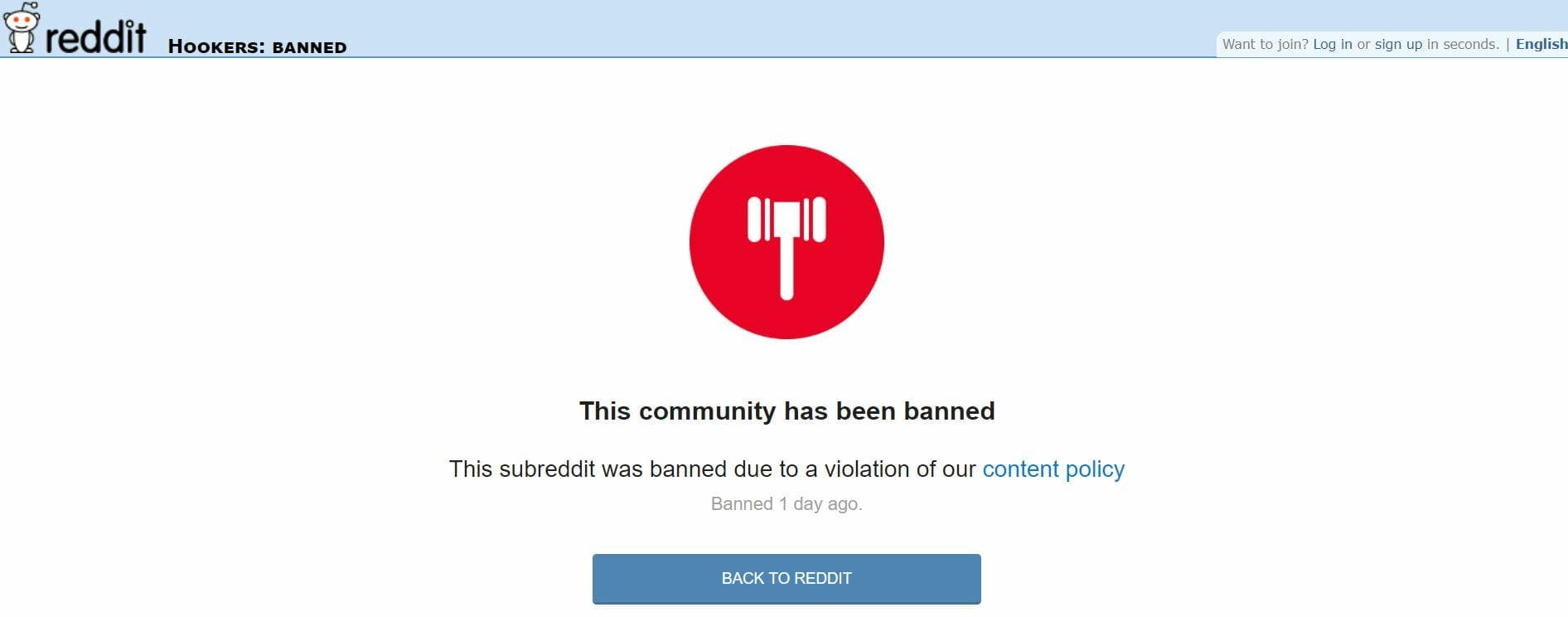 What is SESTA-FOSTA? A screengrab of the reddit ban on sex trafficking subreddit r/Hookers