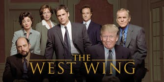 The West Wing title shot with Trump as Josiah Bartlet