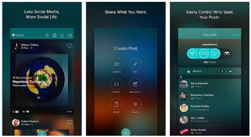facebook alternatives - vero social media app interface