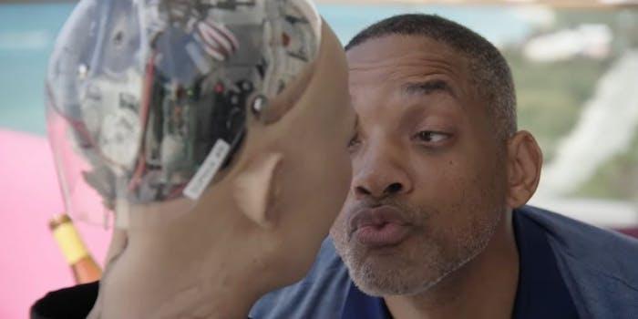 Will Smith Sophia the Robot kiss