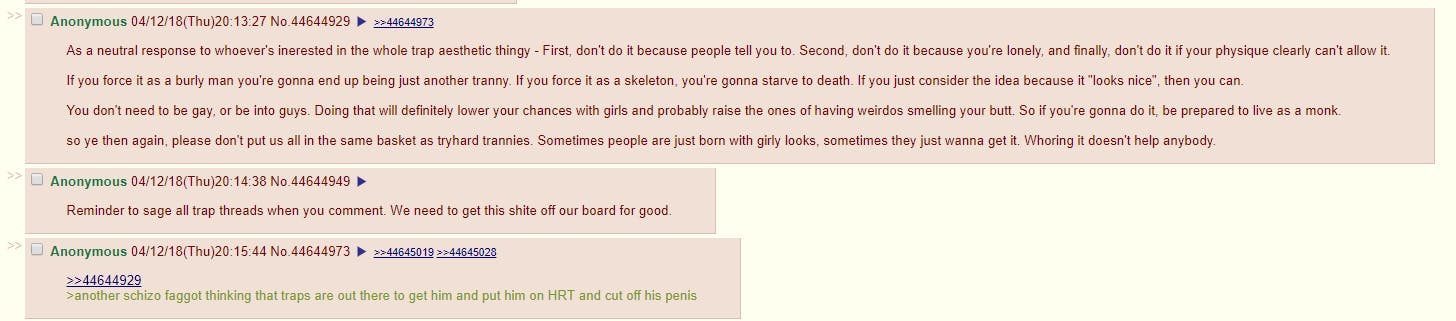Transphobic posts are common on 4chan from /r9k/.