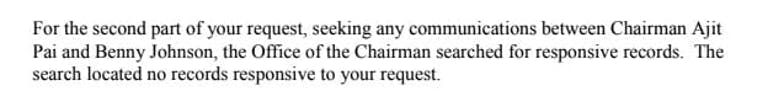 FCC said it did not have any communications between Ajit Pai and Daily Caller author Benny Johnson.