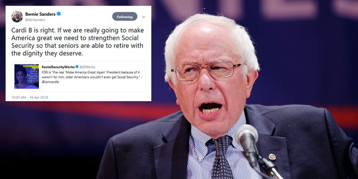 Bernie Sanders retweeted Cardi B and people lost it online.