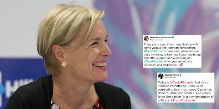 Ceclie Richards with tweets from Jessica Valenti and Renee Bracey Sherman thanking her on Richards' last day as Planned Parenthood president.
