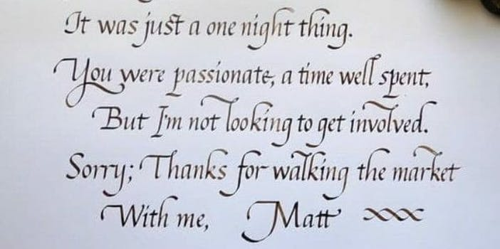 Calligraphy Breakup Message