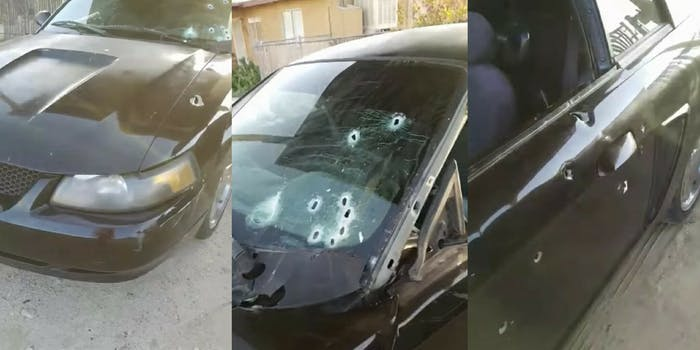 A car riddled with bullets that Diante Yarber was driving when police fatally shot him.