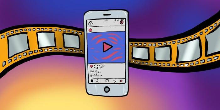 Instagram video: Illustration of phone with Instagram and film reel