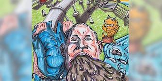 JIm Carrey painting of Scott Pruitt