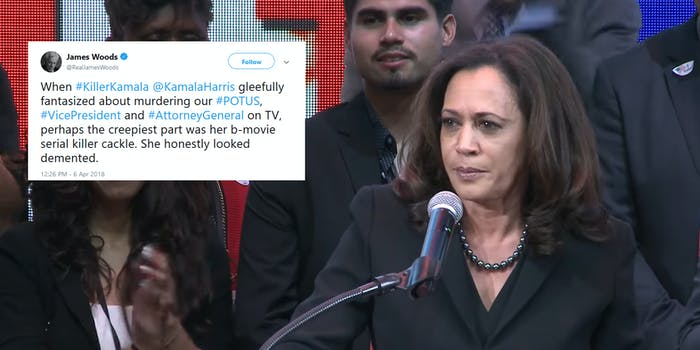 Sen. Kamala Harris (D-Calif.) is drawing criticism from right-leaning internet users after she laughed at a joke on during an appearance on the Ellen Degeneres Show on Wednesday.