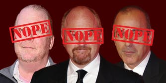 Mario Batali, Louis CK and Matt Lauer with Nope across their faces