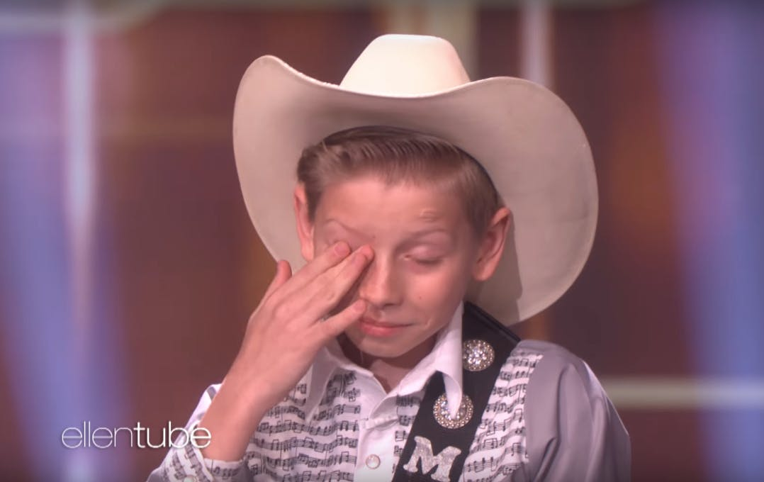 Mason Ramsey cries on Ellen