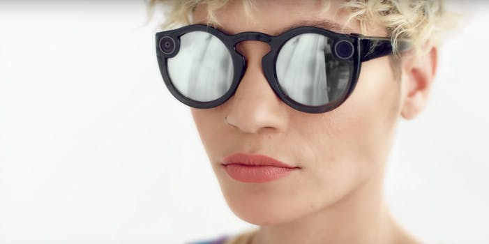 Snap second-generation Spectacles on a short-haired woman