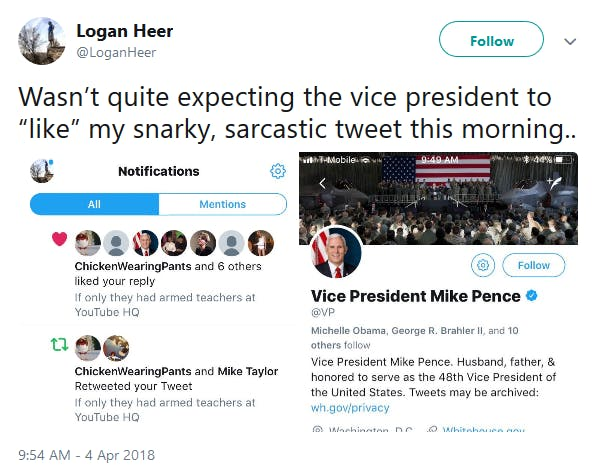 The official Twitter account for Vice President Mike Pence appears to have liked a tweet earlier this week that was making fun of President Donald Trump's suggestion at arming teachers in the wake of the school shooting in Parkland, Florida.
