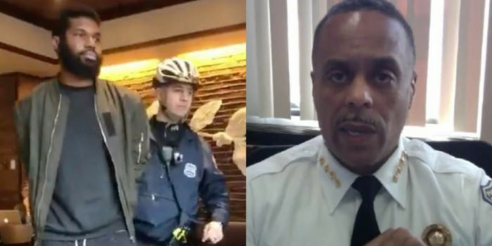 A man at Starbucks being led away by Philadelphia police next to a Facebook video of Commissioner Richard Ross.