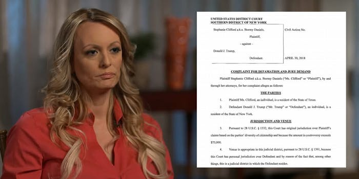 Adult film actress Stormy Daniels is suing President Donald Trump for calling a forensic sketch made of a man who allegedly threatened her a 'total con job' in a tweet earlier this month.