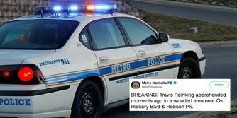 A Nashville cop car with a tweet announcing Travis Reinking has been arrested.