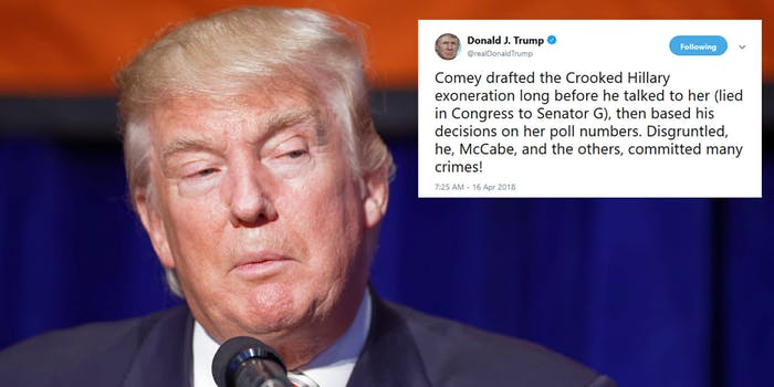 President Donald Trump blasted former FBI Director James Comey on Monday morning, saying that he 'committed many crimes' the day after the former FBI director sat down for a wide-ranging interview on ABC.