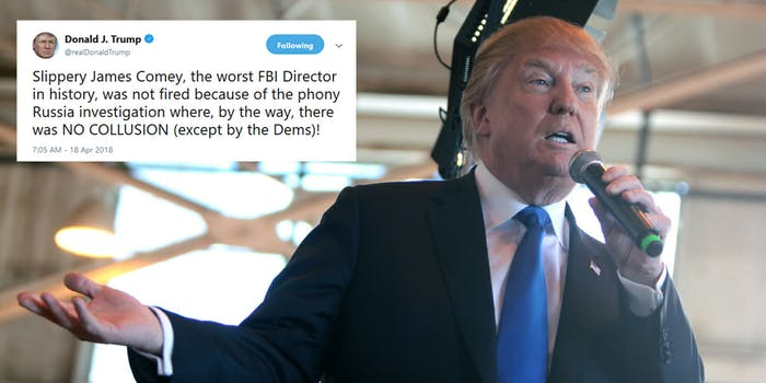 President Donald Trump insisted that former FBI Director James Comey was 'not fired because of the phony Russia investigation' despite telling NBC's Lester Holt that the probe was on his mind when he fired the director during an interview last year.