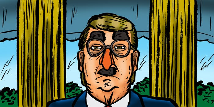 Illustration of Donald Trump wearing a bad disguise