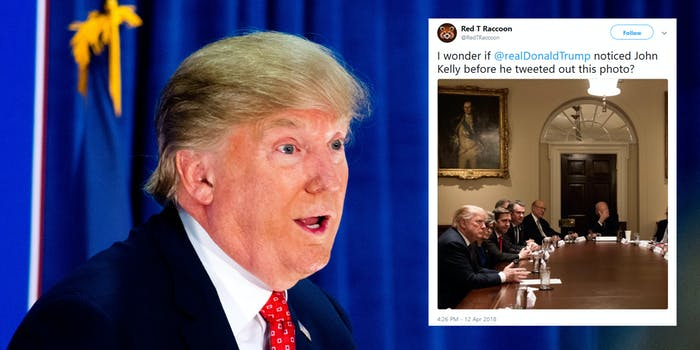 President Donald Trump deleted a tweet where Chief of Staff John Kelly was spotted in the background face-palming during an 'agricultural roundtable.'