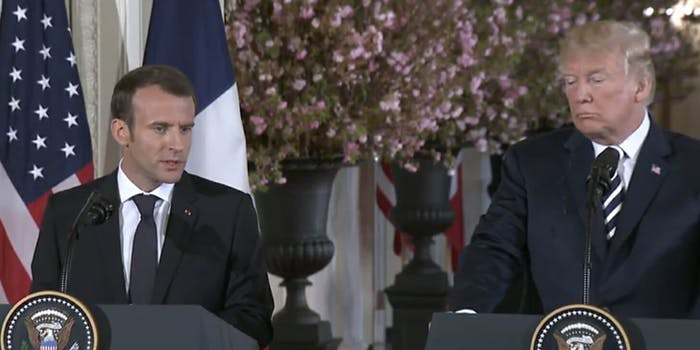 President Donald Trump wiped off a piece of 'dandruff' off French President Emmanuel Macron on Tuesday afternoon.
