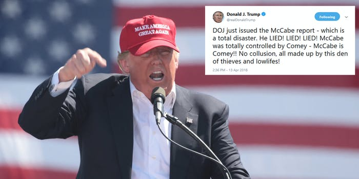 President Donald Trump aired out some choice words following the release of a report that was critical of former FBI deputy director Andrew McCabe.
