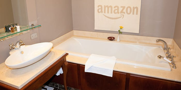 Bathroom with Amazon logo on towel