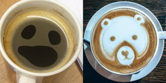 Eyes and mouth made from lack of bubbles in coffee, bear face made from foam in coffee