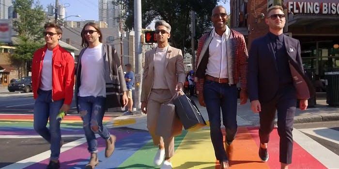 Queer Eye hosts walking down the street together