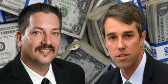 Randy Bryce and Beto O'Rourke in front of stacks of US currency