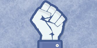 Facebook 'like' icon and black power fist mashup