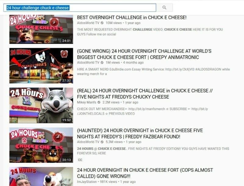 Chuck E Cheese YouTube challenge