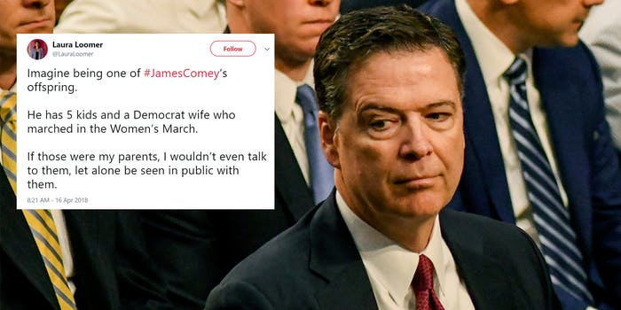 James Comey side-eyeing Laura Loomer tweet