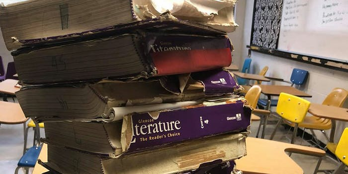 crumbling textbooks in classroom