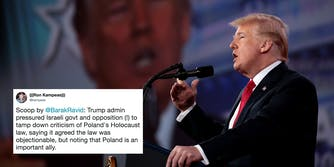 President of the United States Donald Trump speaking at the 2018 Conservative Political Action Conference (CPAC) with a tweet about Trump asking Israel to make up with Poland over it Holocaust law.