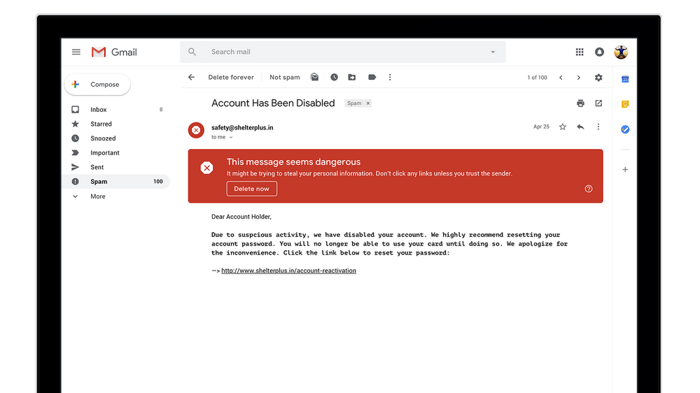 google gmail phishing spam warning