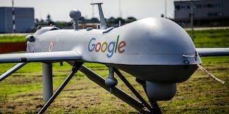 Predator drone with Google logo