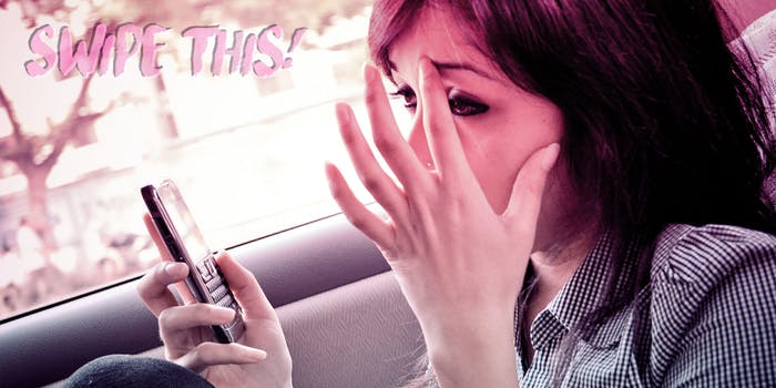 Woman stressing out and holding her phone