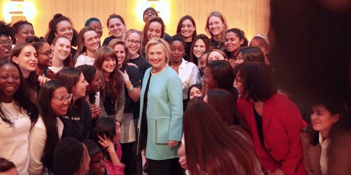 Hillary Clinton at a speaking event at the Wing, a New York women's working collective.