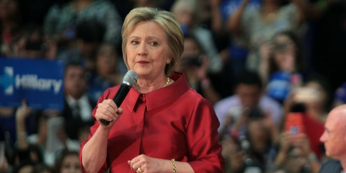 Hillary Clinton speaking with supporters at a campaign rally at Carl Hayden High School in Phoenix, Arizona.