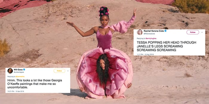 Screengrab from Janelle Monáe's 'PYNK' music video
