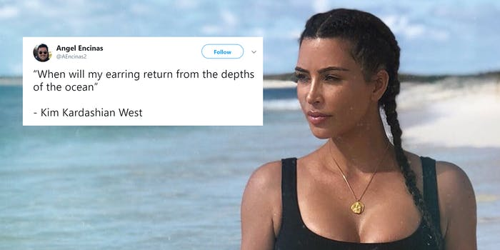 """Kim Kardashian at the beach with """"When will my earring return from the depths of the ocean"""" tweet"""