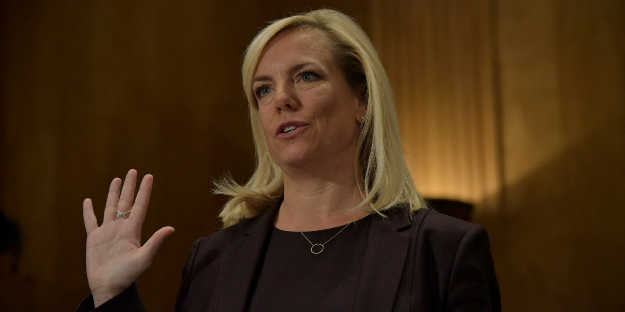Kirstjen Nielsen is sworn in at a hearing on her nomination to become the Secretary of the Department of Homeland Security.
