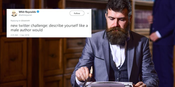"""Man using typewriter with """"new twitter challenge: describe yourself like a male author would"""" tweet"""