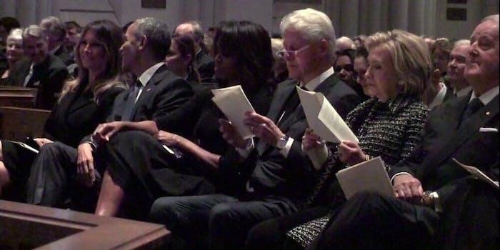 Melania Trump sits next to Barack Obama at Barbara Bush's funeral