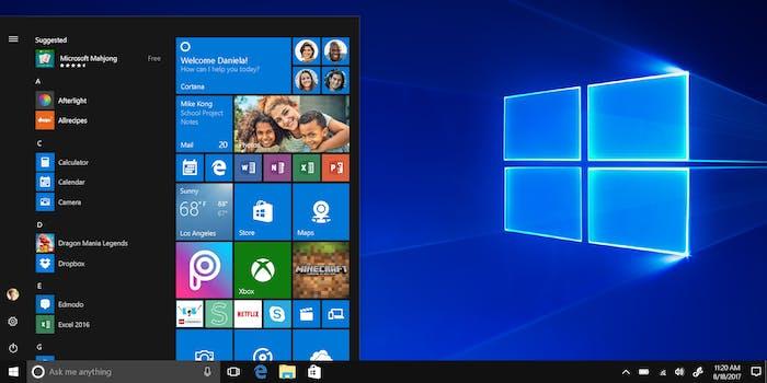 Microsoft Windows 10 screen