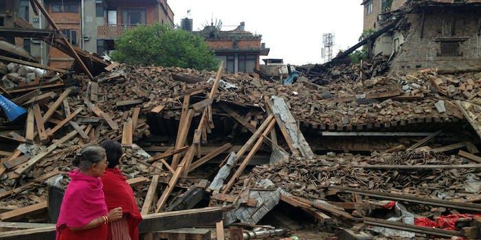 Pedestrians examine the earthquake destruction in Bhaktapur, Nepal.