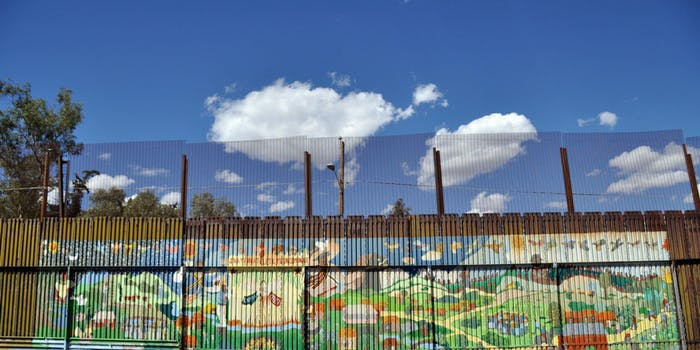 Mural art on the Mexican side of the wall in the city of Heroica Nogales that divides the Mexico from United States.
