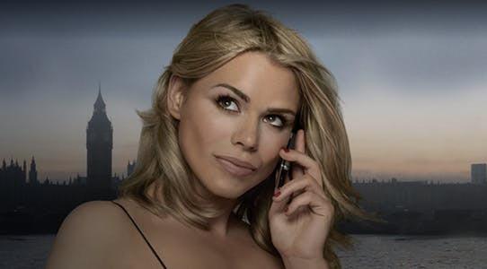 Billie Piper talks on a mobile phone in a scene from secret diary of a call girl