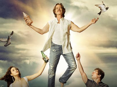 William H. MAcy stands in a Godlike pose in a scene from shameless